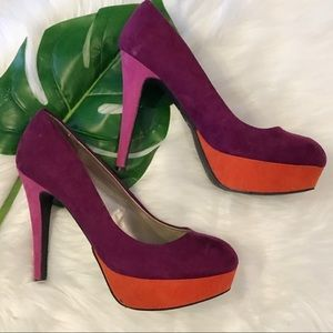 G by Guess Velvet Heels - Size 8